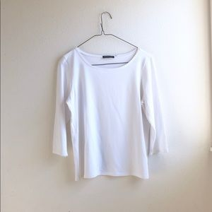 Eileen Fisher white blouse slip on size:M career